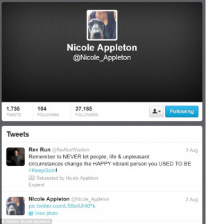 Nicole Appleton breaks her silence with inspirational tweet, three ...