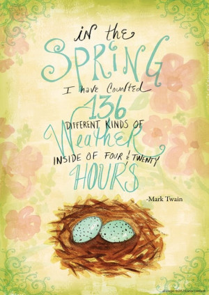 Hand lettered Twain quote about Spring www.kristinelombardi.com # ...
