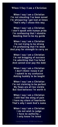 When I say I am a Christian poem (smaller scale) deep navy More