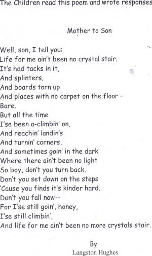 Poem - Mother To Son by, Langston Hughes: Poem, Langston Hugh