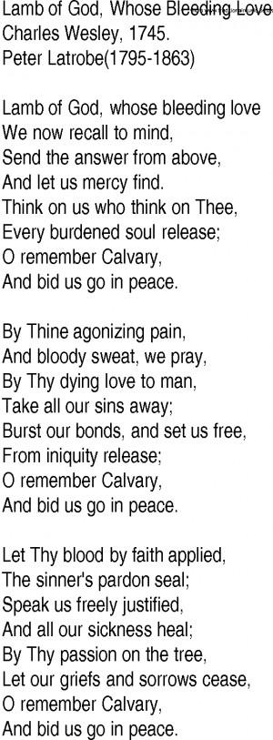 ... Gospel Song: Lamb of God, Whose Bleeding Love by Charles Wesley lyrics