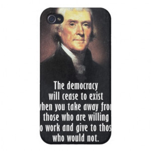 Thomas Jefferson Quote on Democracy iPhone 4/4S Cases