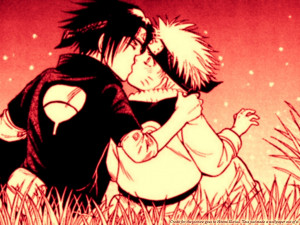 naruto and sasuke kiss Wallpaper