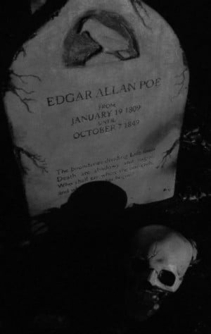Black and White my photos grave Edgar Allan Poe headstone