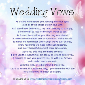 Personal Wedding & Marriage Vows