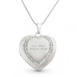 Personalized Sterling Silver Heart Locket w/ Free Jewelry Box Gift