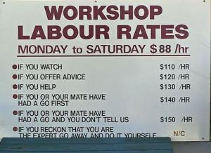 Workshop Labour Rates..
