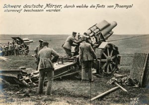 Heavy German mortars firing on Przemysl forts before the attack.