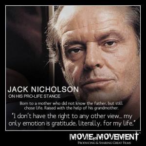 Jack Nicholson #prolife #gratitude #motherandchild #respect #love