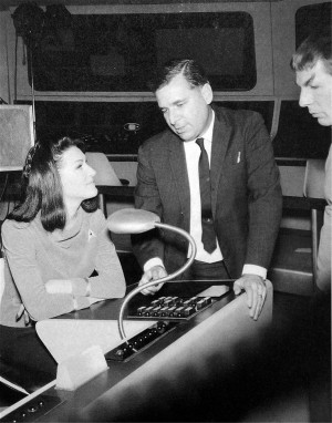 Gene Roddenberry (died in 1991) on the set with wife Majel Barrett ...
