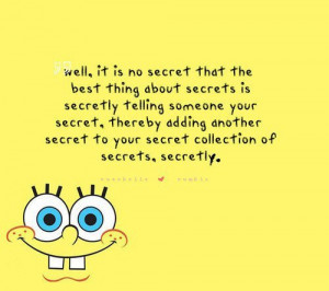 cute, quote, secret, spongebob, yellow
