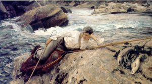 Fishing Paintings. John Singer Sargent - On His Holidays