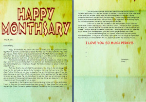 1st Monthsary Letter for Perky