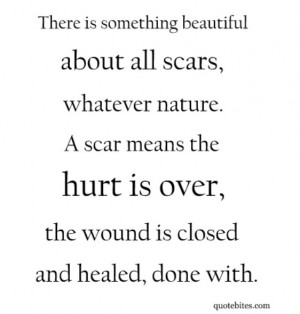Scars mean the hurt is over, the wound is closed and healed, done with ...
