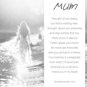 In Loving Memory Cards For Mom – I thought of you today, but that is ...