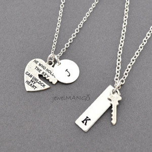 key to my heart, COUPLE necklace, mr. mrs.,hand stamping jewelry, His ...