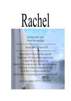 Name Means Everything.Raquel, Rachel, Rachelle More