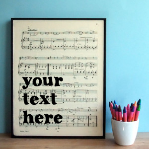 Bespoke Personalized Quote on Framed Sheet Music - Custom Typographic ...
