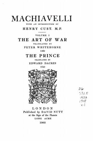 Niccolo Machiavelli The Art Of War Author: niccolo machiavelli