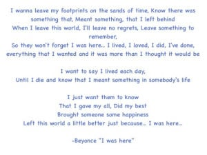 Beyonce I Was Here Quotes Beyonce
