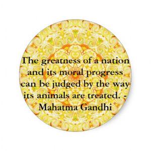 animal rights quote - Mahatma Gandhi Round Stickers