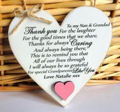 Thank you GRANDPARENTS Plaque NAN GRANDAD Gift 10cm Friend Gift Shabby ...