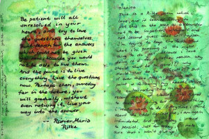 My Water Lily page.I did a watercolor splatter technique that reminded ...