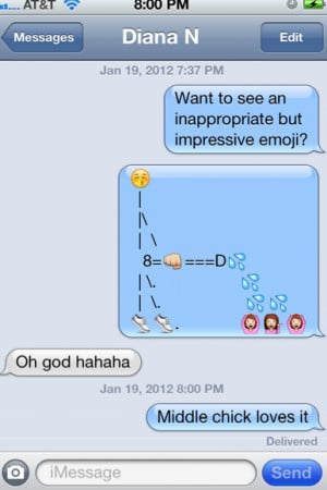 iPhone emoji taken to a whole new level. Probably NSFW.