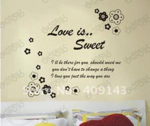 love is sweet flower children vinly PVC wall sticker DIY art room wall ...