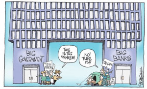 Funny photos funny political cartoon government vs banks