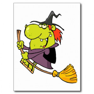funny green witch riding broomstick on halloween postcard