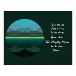 Rumi Quote Poster Art. Ocean Mandala Design. You are not just a drop ...