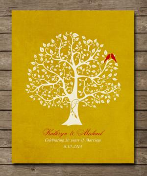 50th Wedding Anniversary Tree Gift, Golden Anniversary gift for ...