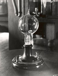 Replica of Thomas Edison's first lightbulb.