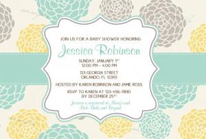 Modern Whimsical Flower Bridal Baby Shower Invitations - Printable