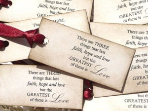 Love Quote Wedding Favor Tags - Claret Ribbon