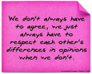 It's ok to agree to disagree!