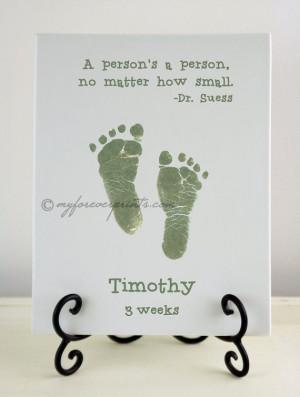 Dr. Suess: Newborn Handprint & Footprint Pottery Keepsake via Etsy