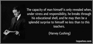 The capacity of man himself is only revealed when, under stress and ...