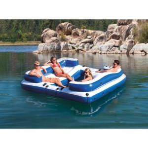 ... Oasis Island Inflatable Lake & River Seated Floating Water Lounge Raft