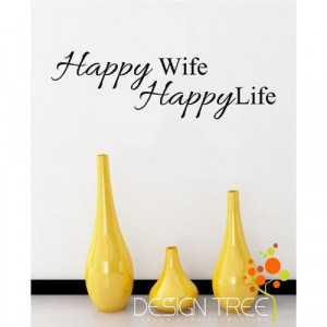 Happy Wife Life Vinyl Wall Quotes Family Lettering Home Art picture