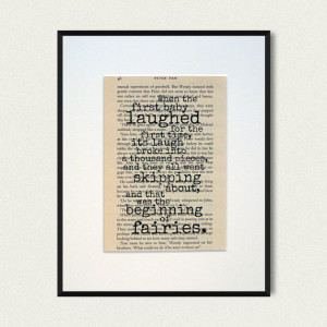 Peter Pan - Book Quote Print - Baby Shower Gift - New Baby Gift ...