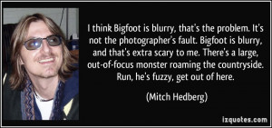 think Bigfoot is blurry, that's the problem. It's not the ...