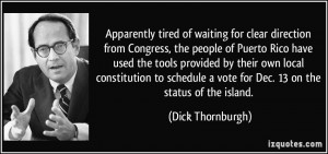 waiting for clear direction from Congress, the people of Puerto Rico ...