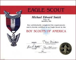 Eagle Scout Award Certificate