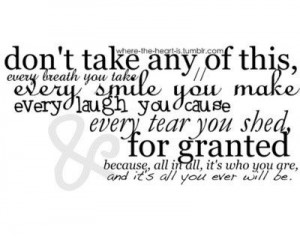 Don\'t take it for granted