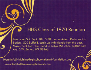 ... High's Class Of 1970's 40th Reunion Is Saturday, Sept. 18th
