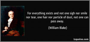 ... one hair nor particle of dust, not one can pass away. - William Blake