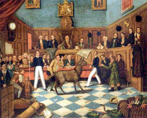 painting of the Trial of Bill Burns, showing Richard Martin with the ...