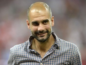 Bayern Munich's Spanish headcoach Pep Guardiola looks ahead during the ...
